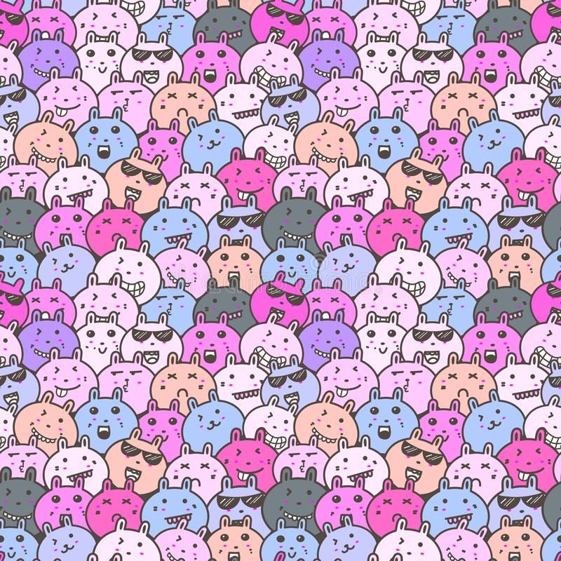Seamless pattern with lovely bunny background, Cute rabbit doodle art for kids. Seamless pattern with lovely bunny background, Cute rabbit doodle art for kids royalty free illustration