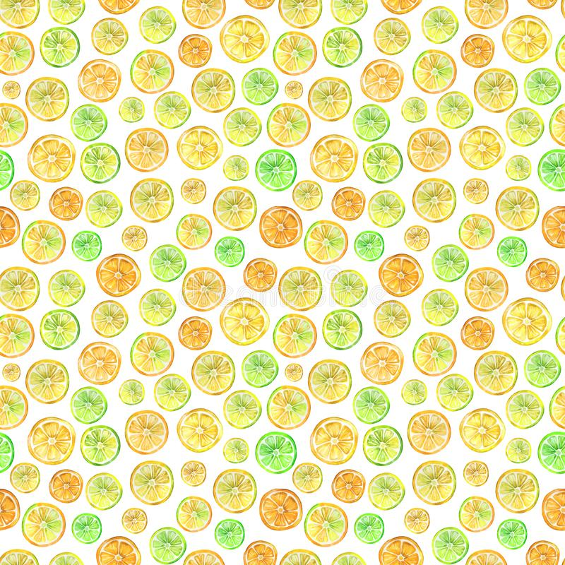 Seamless pattern with lovely colorful citrus slices. Watercolor painting. Hand drawn summer illustration. Wrapping paper, wallpaper, fabric design royalty free illustration