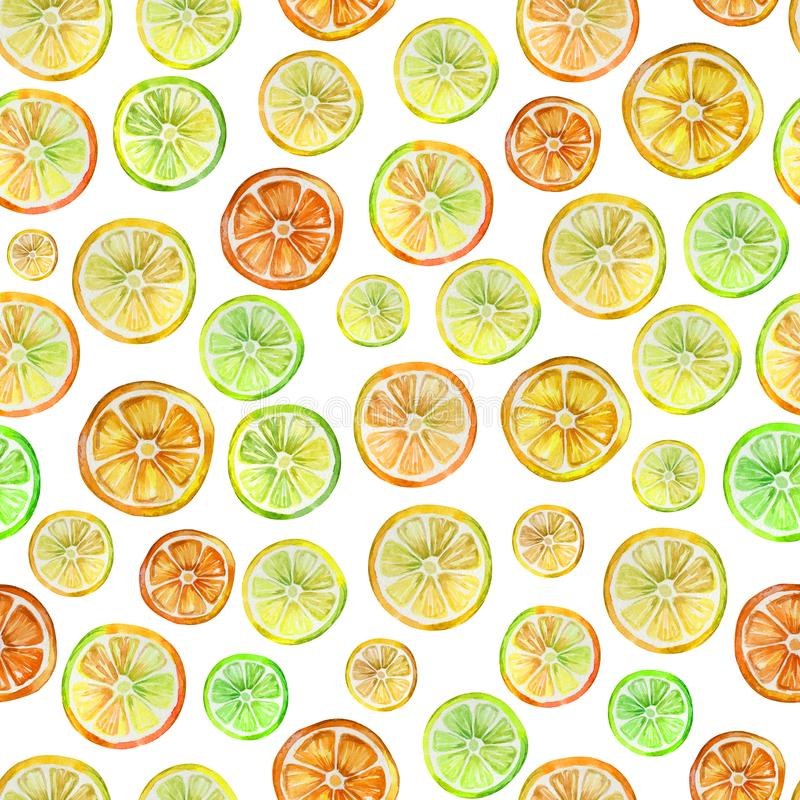 Seamless pattern with lovely colorful citrus slices. Watercolor painting. Hand drawn summer illustration. Wrapping paper, wallpaper, fabric design stock illustration