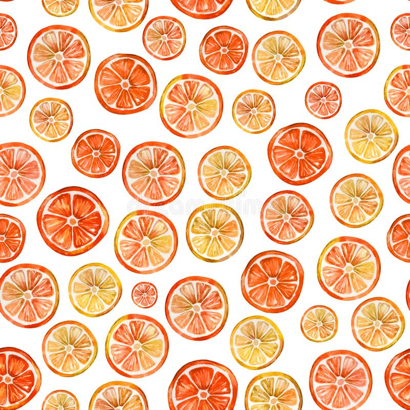 Seamless pattern with lovely colorful citrus slices. Watercolor painting. Hand drawn summer illustration. Wrapping paper, wallpaper, fabric design vector illustration