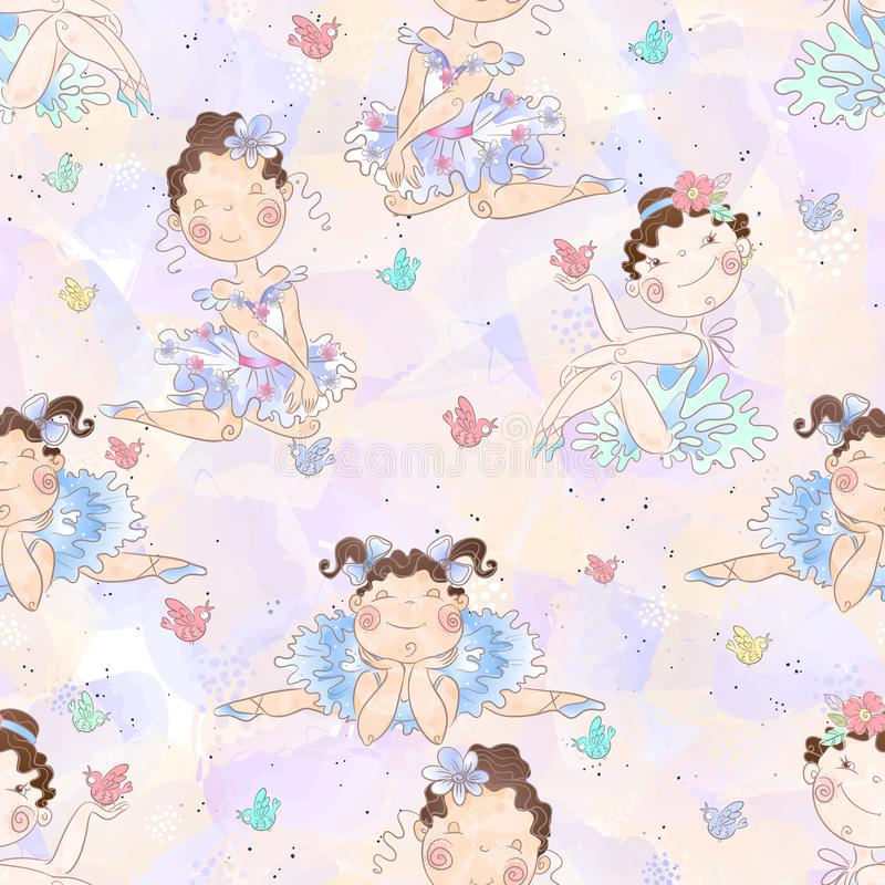 Seamless pattern. Lovely girls ballerinas. Vector vector illustration