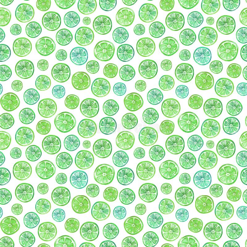 Seamless pattern with lovely green citrus slices. Watercolor illustration. Hand painted summer background. Wrapping paper, wallpaper, fabric design stock illustration