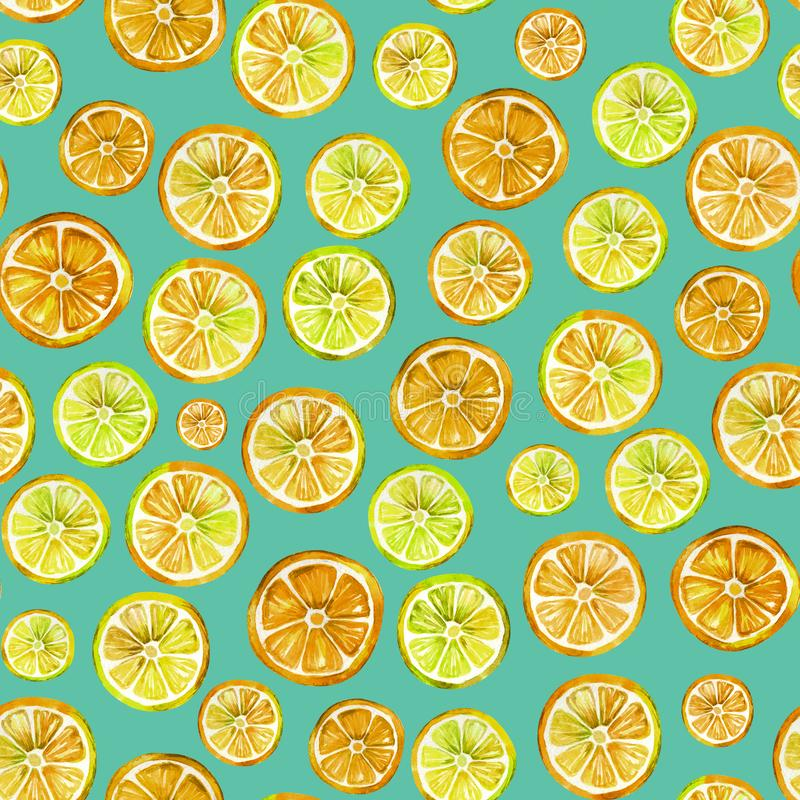 Seamless pattern with lovely lemon slices. Watercolor painting. Hand drawn summer illustration. Can be used for greeting cards, wrapping paper, wallpaper stock illustration
