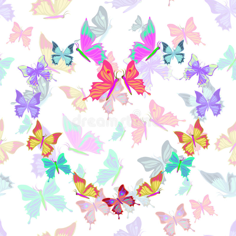 Seamless pattern lovely multicolored butterflies fly in the form vector illustration