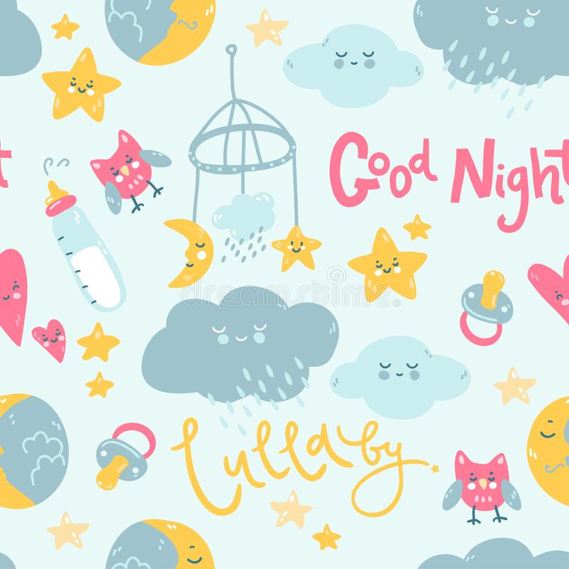 Seamless pattern with lullaby good night elements, moon, clouds, star, baby bottle and toys. Vector nighty night illustration stock illustration