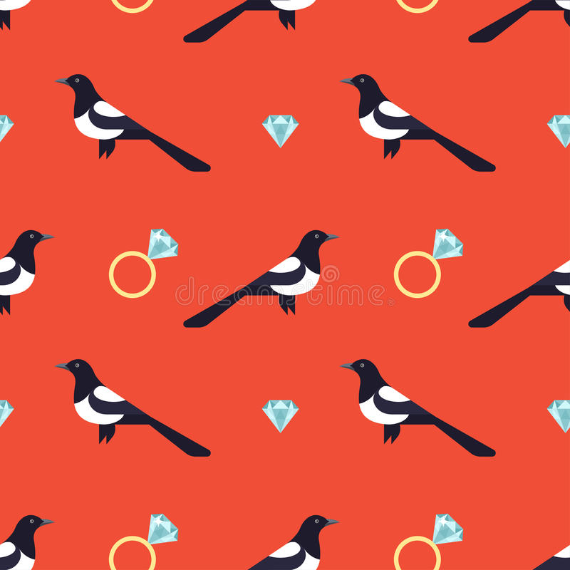 Seamless pattern with luxury golden rings and magpies. royalty free illustration