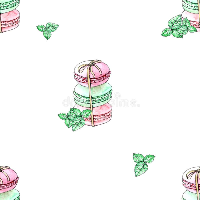 Seamless pattern with macaroons with mint for textile, paper, website. Watercolor illustration royalty free illustration