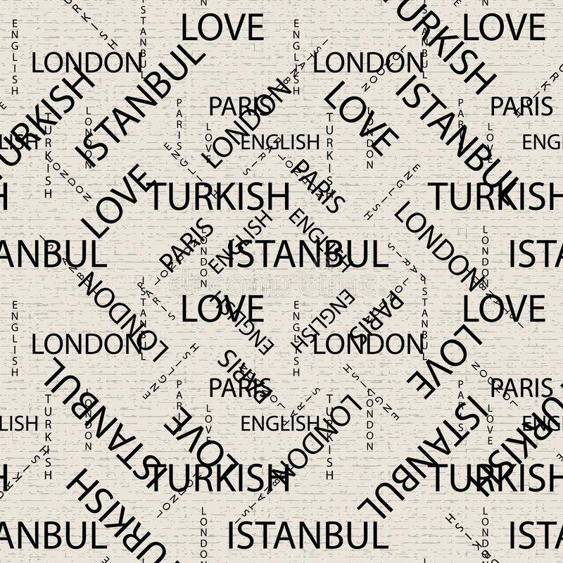 Seamless pattern made of handwritten text. English London Paris Turkish words and lettern written by hand in black and white vector illustration