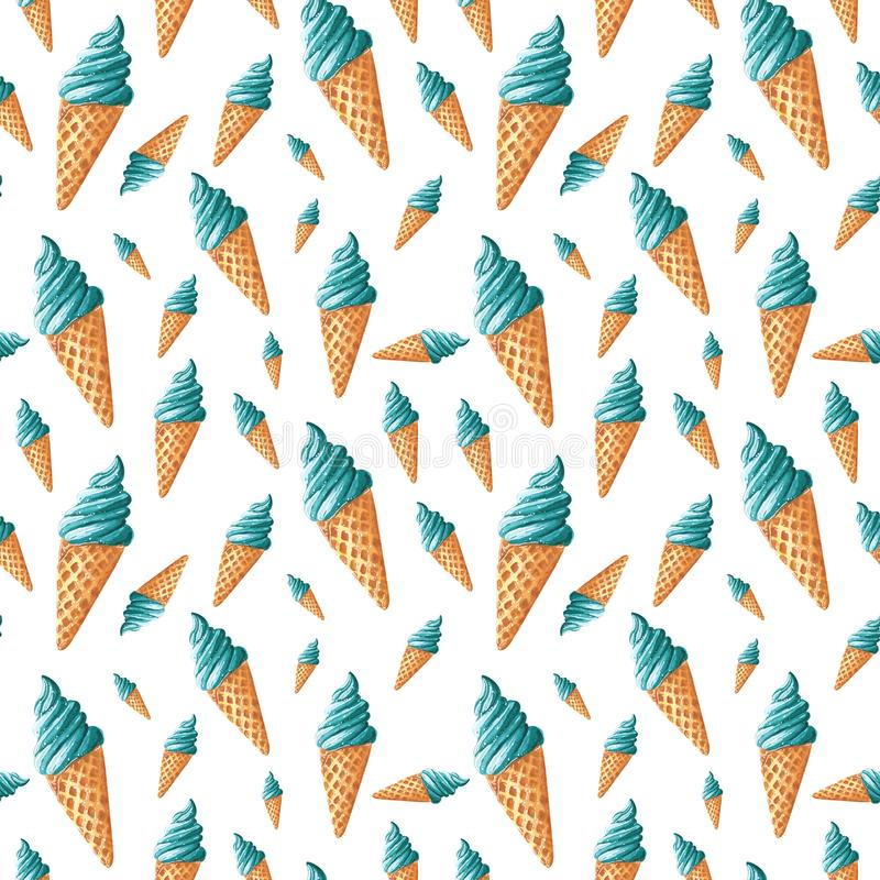 Seamless pattern, made of turquoise blue sweet ice cream, hand drawn food watercolor illustration. Isolated on white stock illustration