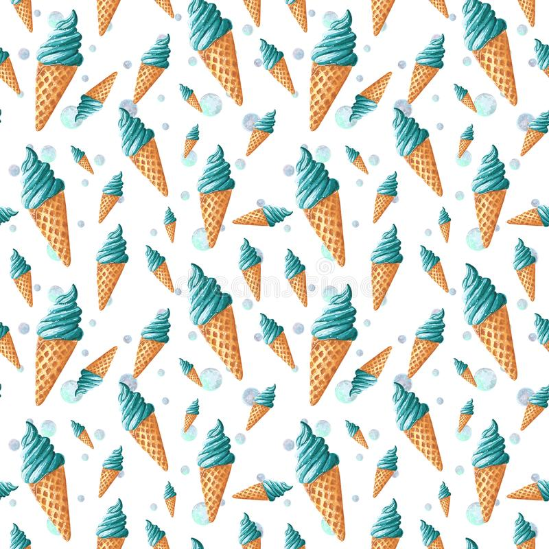 Seamless pattern, made of turquoise blue sweet ice cream, hand drawn food watercolor illustration. Isolated on white vector illustration