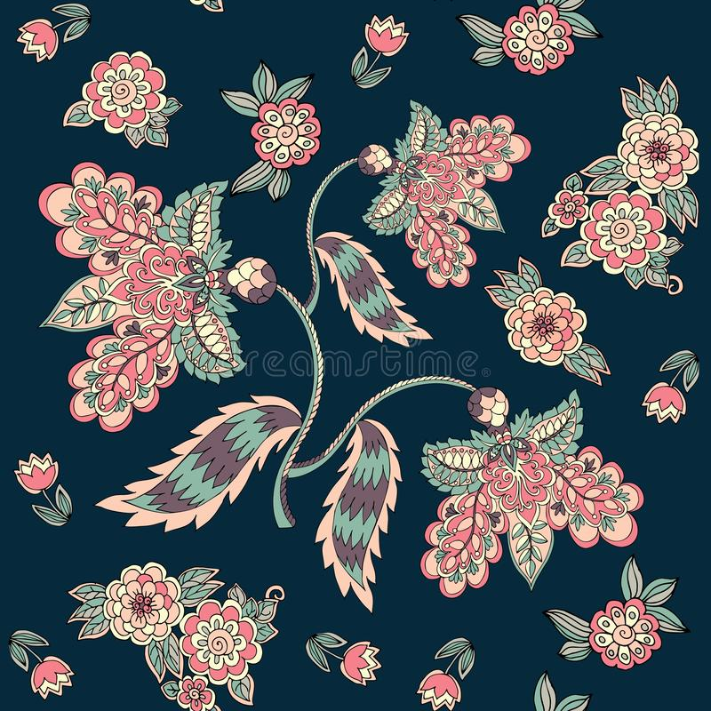Seamless pattern with magic flowers on dark background. Print for fabric, template for pillowcase. Vector illustration royalty free illustration