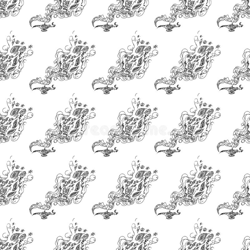 Seamless pattern of magic genies lamp isolated on white background. Set of seamless floral elements. Magic oil lamp line and solid. Icon, outline and filled stock photography