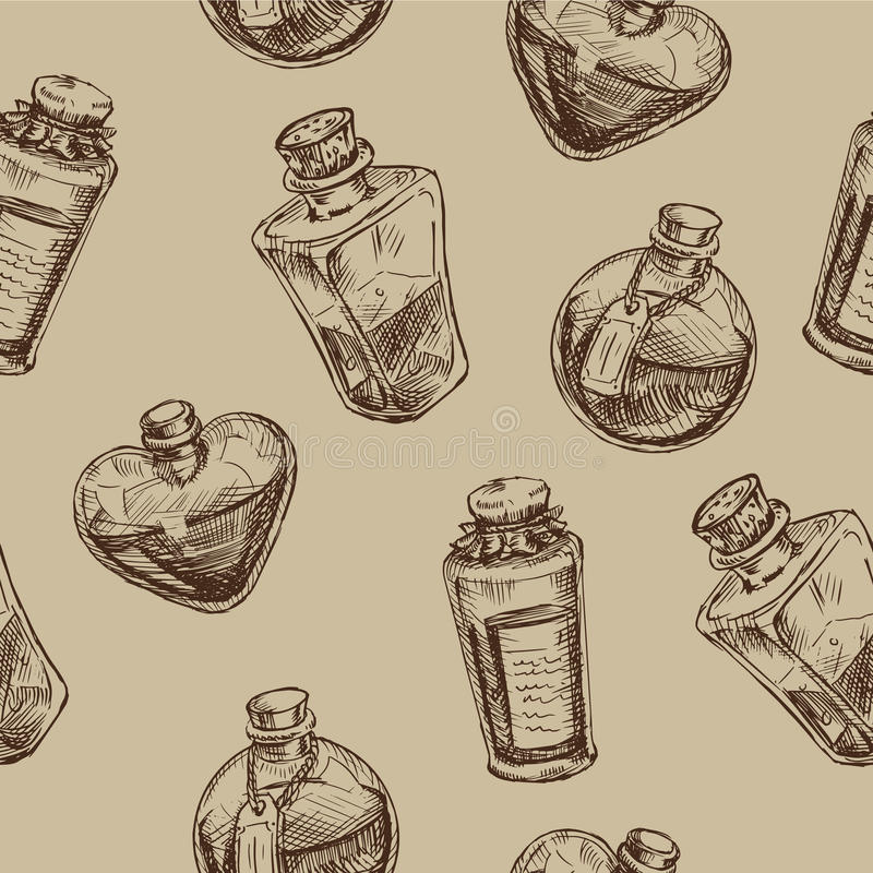 Seamless pattern with magic glass flasks. stock illustration