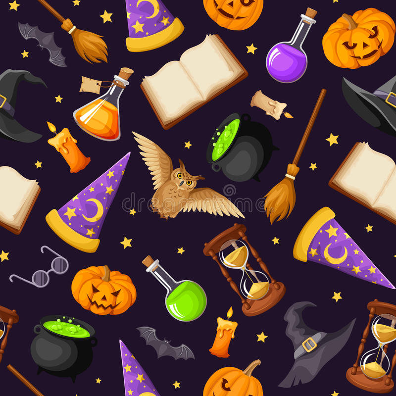 Seamless pattern with magical symbols. Vector eps-10. vector illustration
