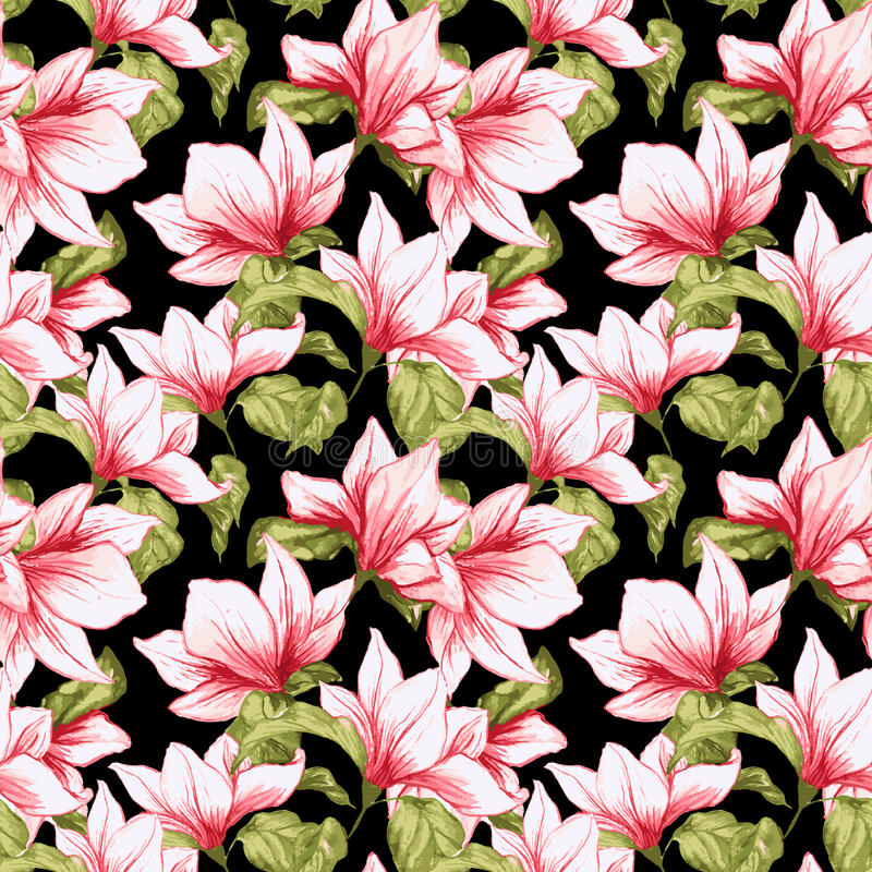 Seamless pattern with magnolia flowers on the black background. stock illustration