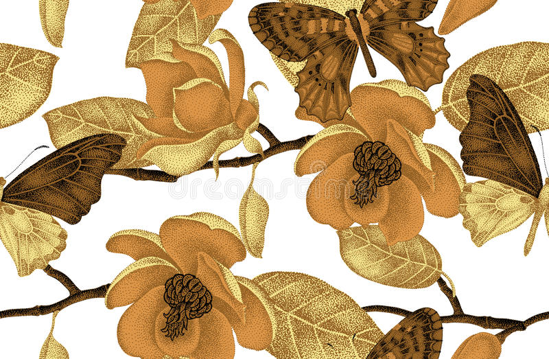 Seamless pattern with magnolia flowers and butterflies. stock illustration
