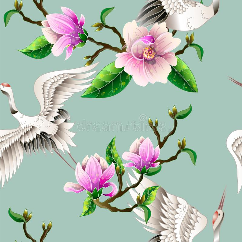 Seamless pattern with magnolia flowers and Japanese white cranes. Vector. stock illustration
