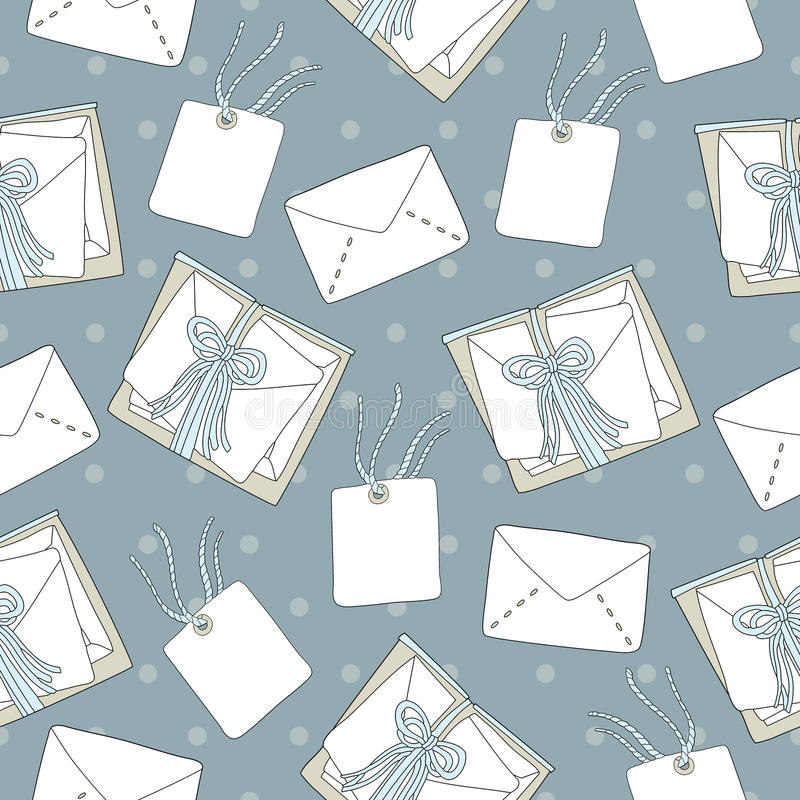 Seamless pattern of mail letters and envelope background