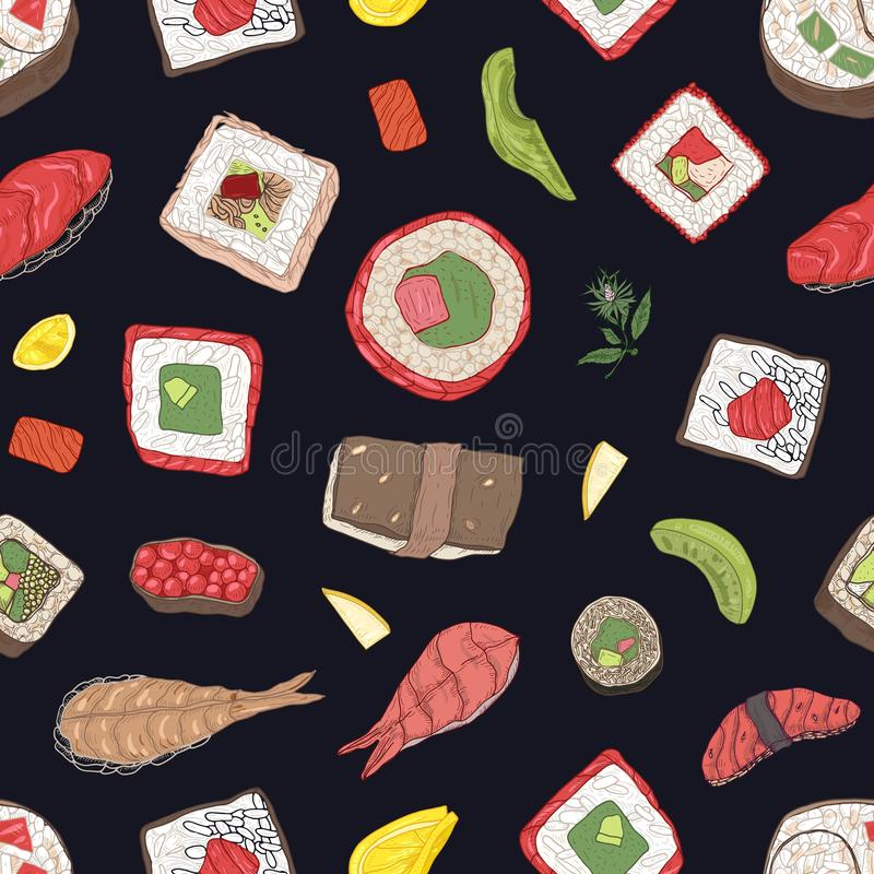 Seamless pattern with maki and nigiri sushi, sashimi, rolls on black background. Backdrop with Japanese food for lunch. Or dinner. Realistic vector illustration stock illustration