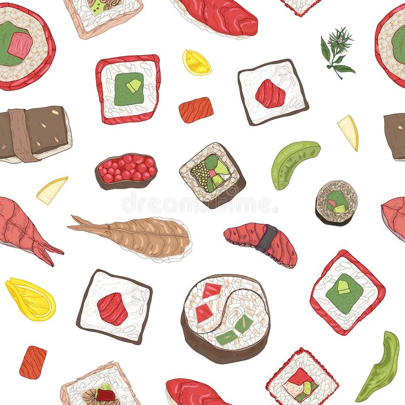 Seamless pattern with maki and nigiri sushi, sashimi, rolls and ingredients on white background. Backdrop with fresh. Tasty Japanese fish and seafood meals stock illustration