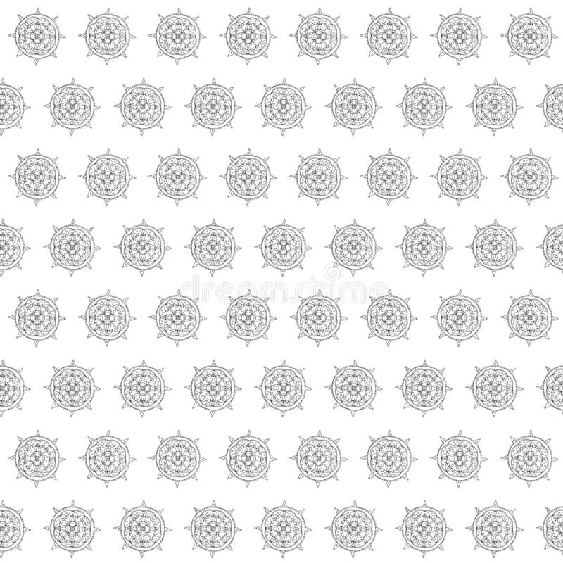 Seamless pattern Mandala. Hand drawing sketch. Black outline on white background. Vector illustration stock illustration