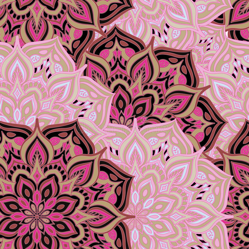 Seamless pattern mandala. Seamless pattern with Islam, Arabic, Indian, ottoman motifs.Floral mandalas and Oriental ornaments.It can be used for printing on stock illustration