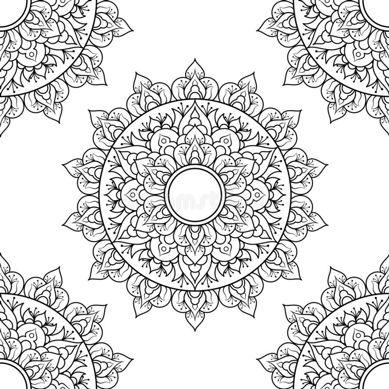 Seamless pattern mandala ornament. Floral mandala. Vintage decorative elements. Hand drawn oriental background. Floral stock illustration
