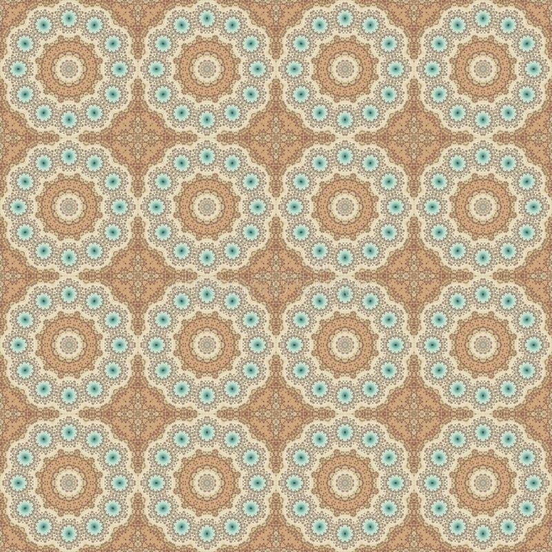 Seamless pattern mandala round graphic ornament stylish background, repeating texture circles. Stylized elements stock illustration