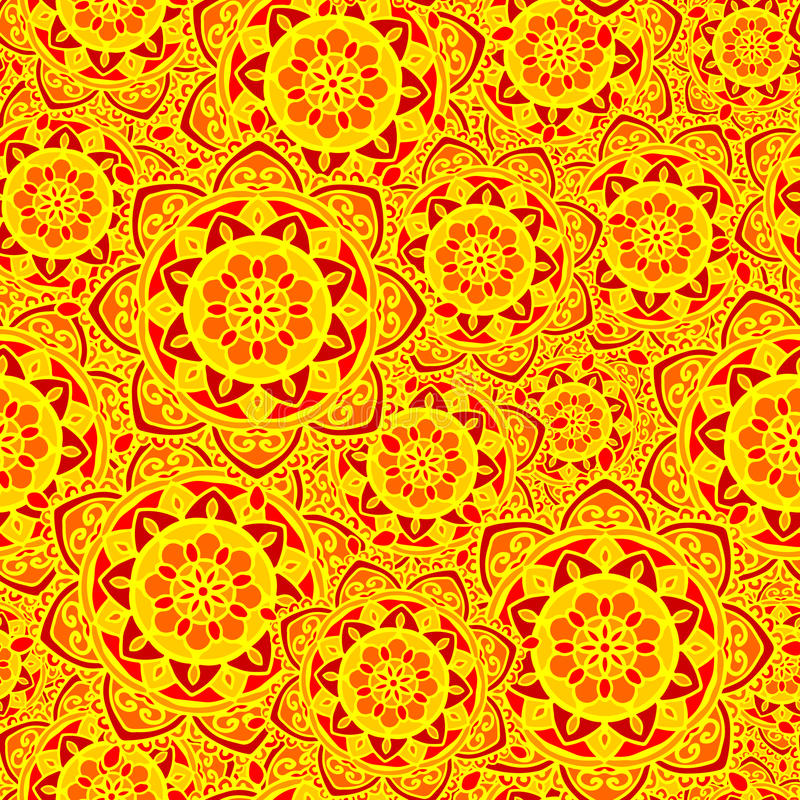 Seamless pattern mandala yellow red flower sun. Vector seamless background pattern round flower mandala yellow red orange vector illustration