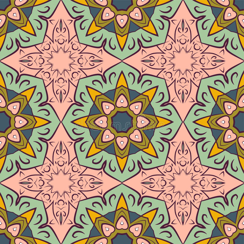 Seamless pattern with mandalas in beautiful vintage colors. Vector background.  stock illustration