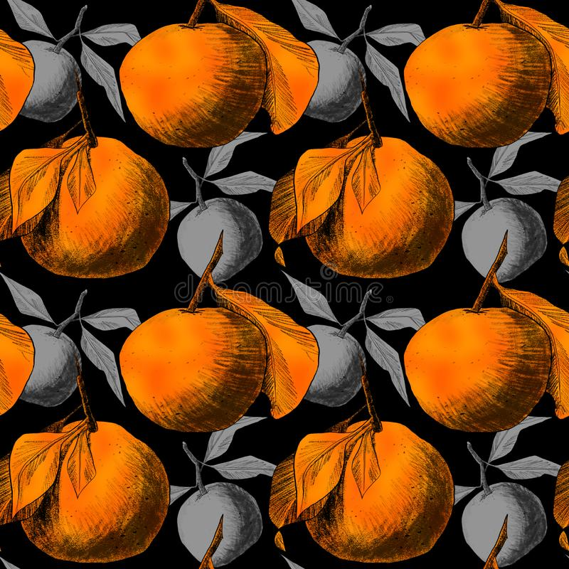 Seamless pattern: mandarins or apples, unique pencil drawings of fruits combined into beautiful compositions. Orange on black background with grey silhouettes vector illustration