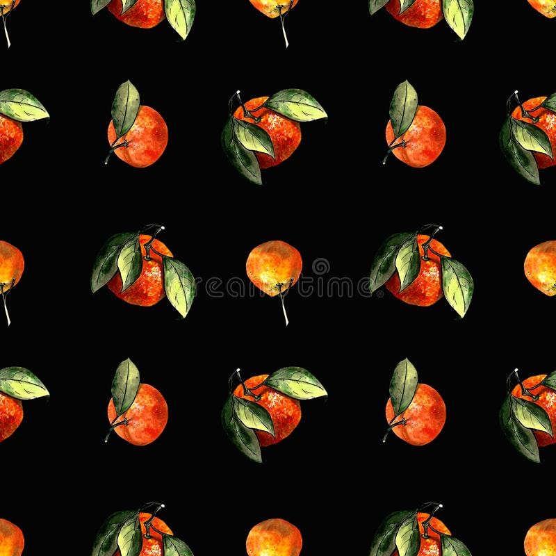 Seamless pattern with mandarins and leaves on black background. Drawing markers. Seamless pattern with mandarins and leaves. Hand draw stock illustration