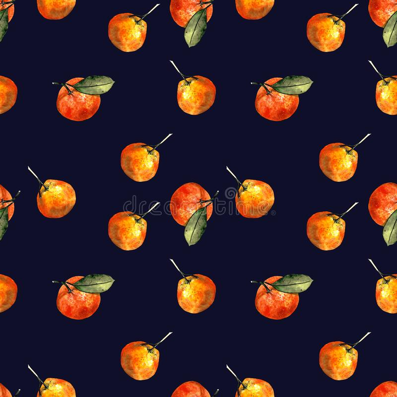 Seamless pattern with mandarins and leaves on blue background. Drawing markers. Seamless pattern with mandarins and leaves. Hand draw royalty free illustration