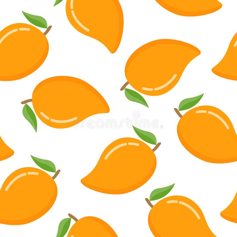 Seamless pattern with mango on a white background stock illustration