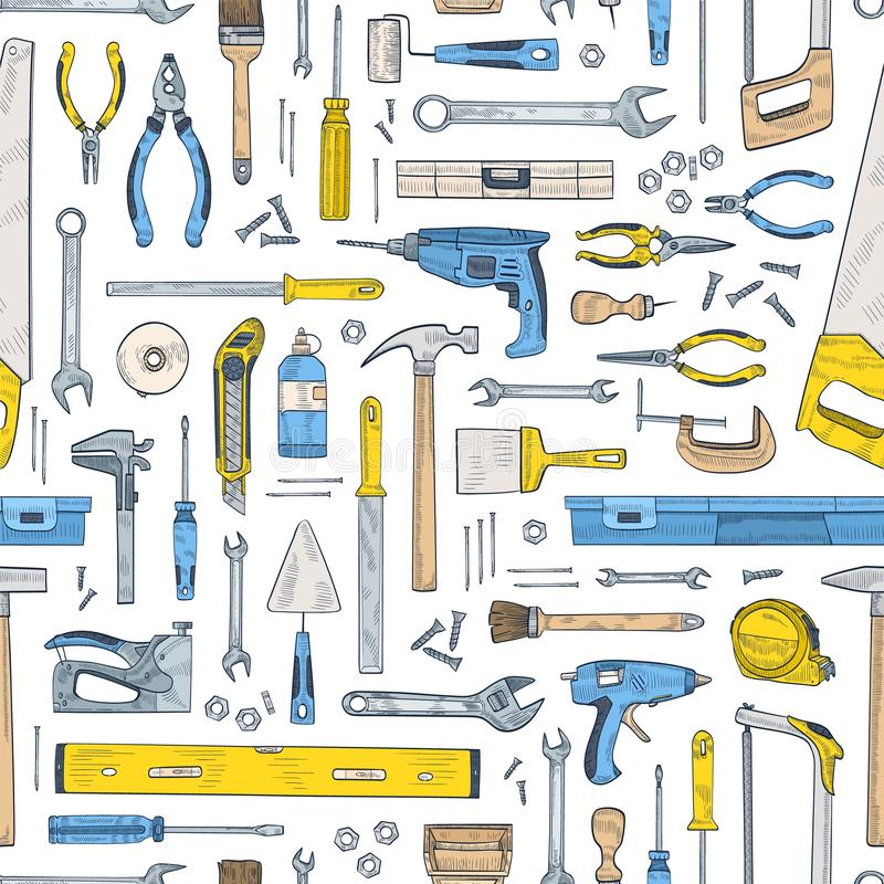 Seamless pattern with manual and powered tools for handcraft and woodworking. Backdrop with equipment for home repair. And maintenance on white background. Hand stock illustration