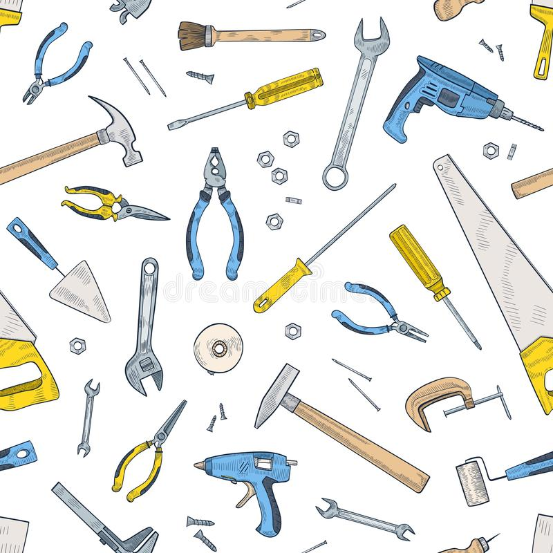 Seamless pattern with manual and powered tools for home repair and maintenance. Backdrop with equipment for handicraft. Scattered on white background. Realistic vector illustration