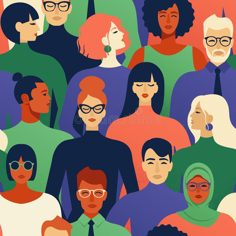 Seamless pattern of many different people profile heads vector illustration