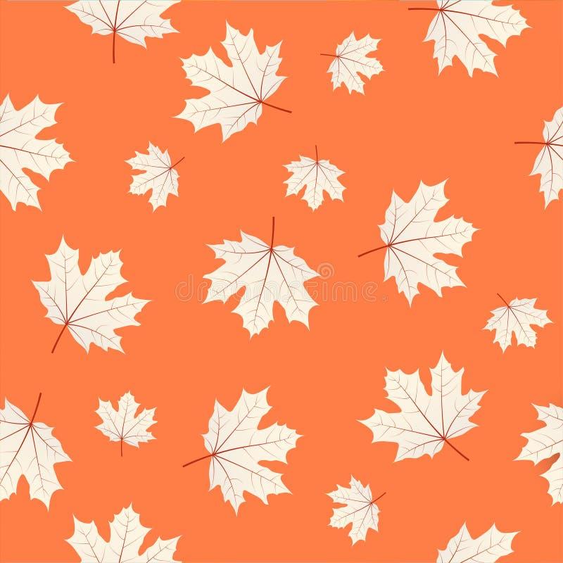 Seamless pattern with maple leaves on orange background. Autumn stock illustration