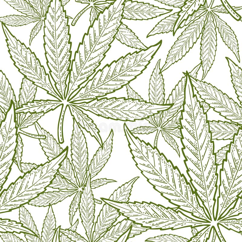 Seamless pattern with marijuana leaf. Vintage black vector engraving illustration. Seamless pattern with marijuana leaf. Hand drawn design element cannabis royalty free illustration