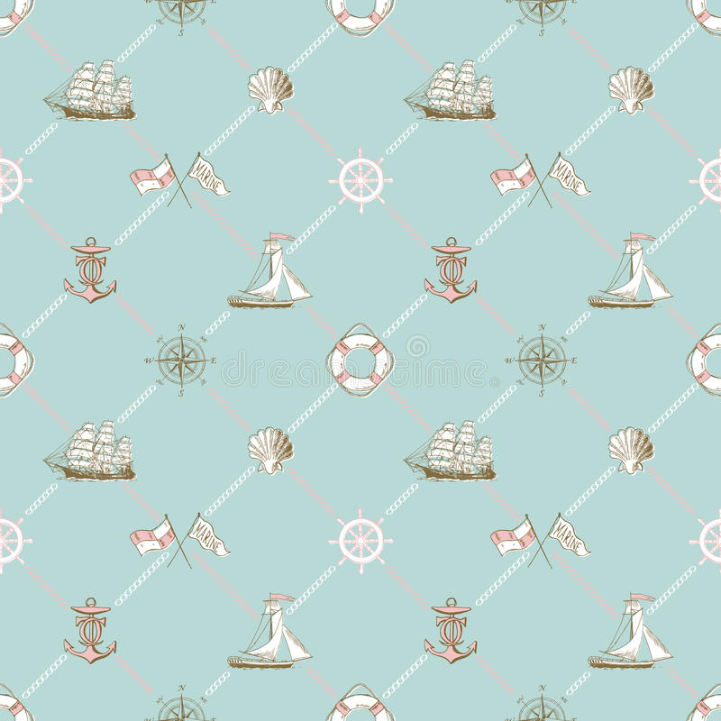 Download Seamless Pattern Of Marine Check Stock Vector - Illustration of vintage, yacht: 87327295