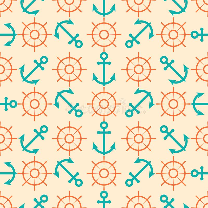 Seamless Pattern with Marine Elements. Abstract Seamless Pattern Background with Marine Elements royalty free illustration