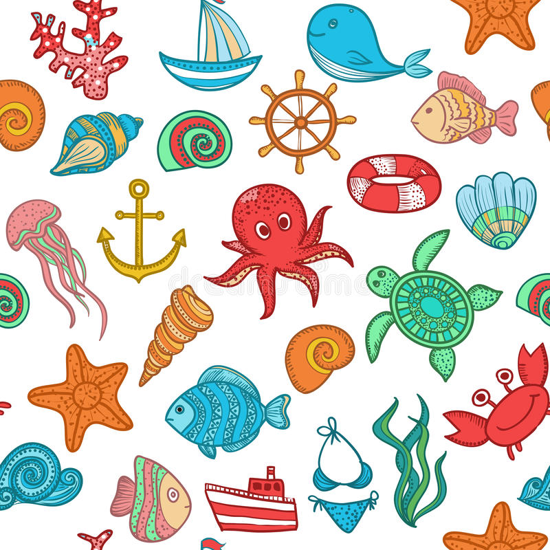 Seamless pattern of marine life royalty free stock images
