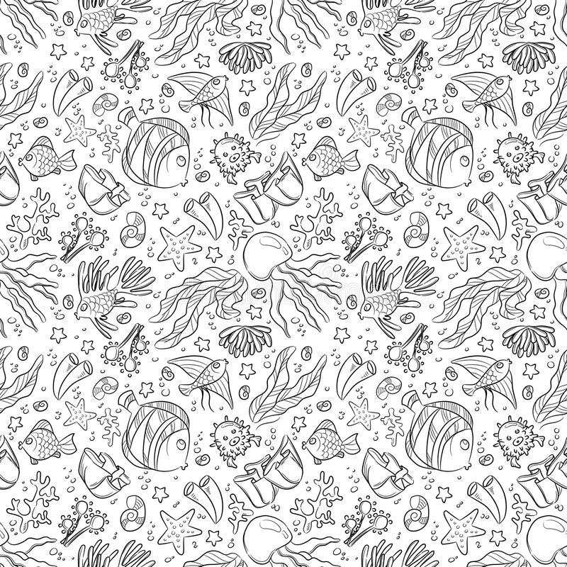 Seamless pattern with marine life: jellyfish, fishes, corals, seaweed, bubbles and stars. Hand draw art vector illustration