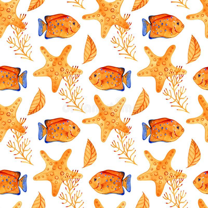 Seamless pattern with marine starfish. Watercolor background. Can be used for fabric, wallpaper, banner, pack, web page. Isolated elements for easy use stock photography