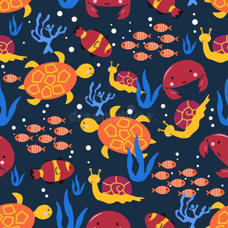 Seamless pattern with marine life snail crab turtle - vector illustration, eps vector illustration