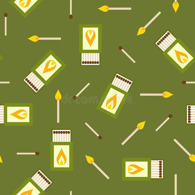 Matches and matchbox seamless pattern vector illustration