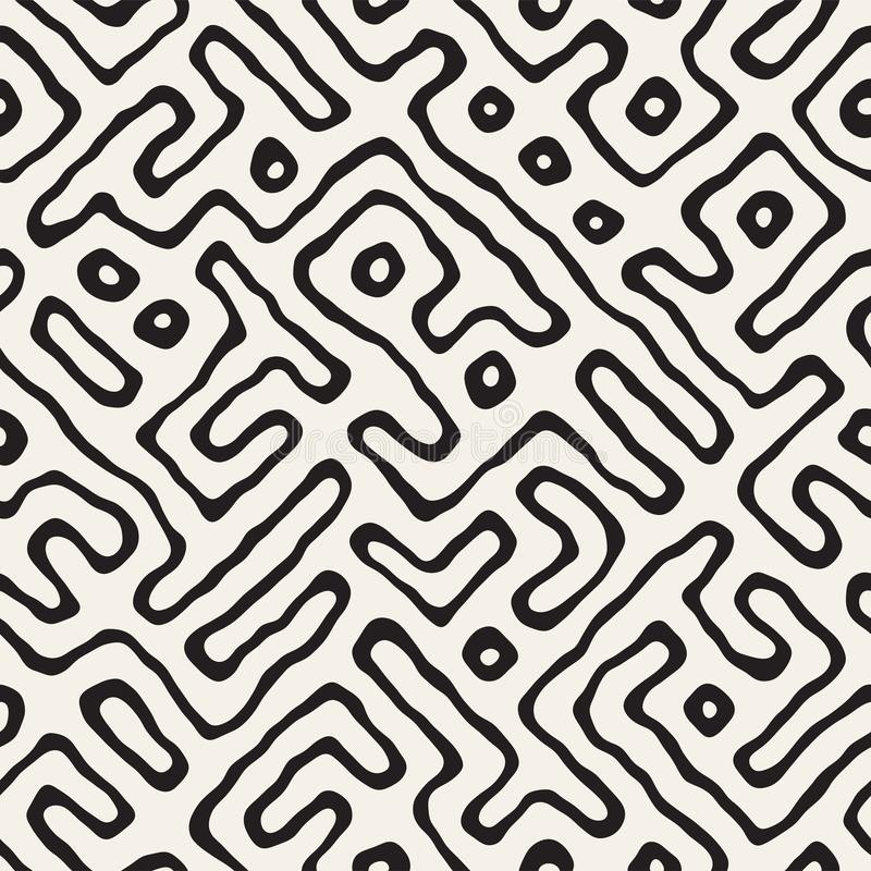 Seamless pattern with maze lines. Monochrome abstract background. Vector hand drawn labyrinth. Seamless pattern with maze lines. Monochrome abstract grungy stock illustration