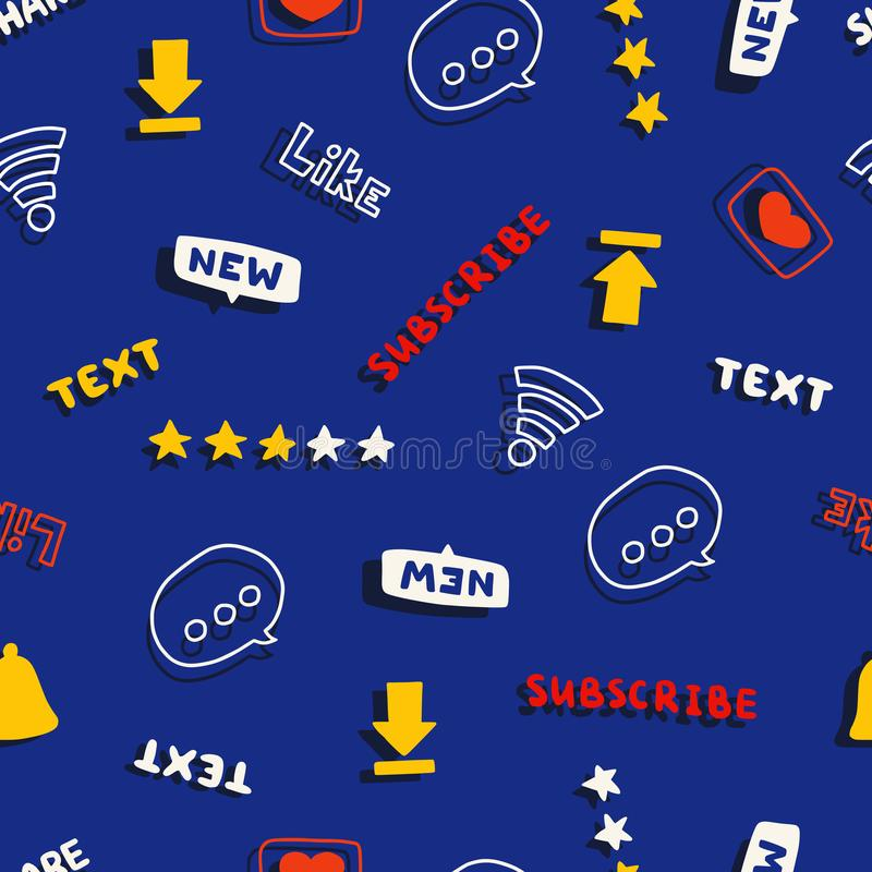 Seamless pattern with media and social network words and symbols. Vector illustration stock illustration