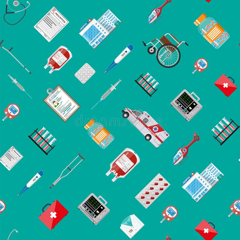 Big medical set seamless pattern royalty free illustration
