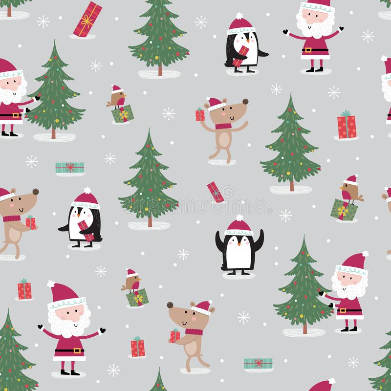 Seamless pattern with meeting between cute Santa Claus, reindeer, robin and penguin on the Christmas celebration stock illustration